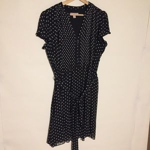 Dress Barn Polka Dot Dress 16P Button Front